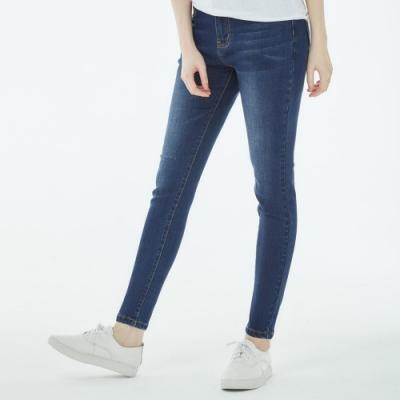 101原創 率性刷破洗色彈性牛仔褲-深藍-女