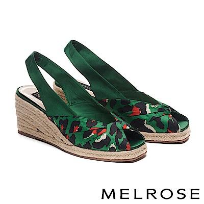 高跟鞋 MELROSE 潮流印花緞布蝴蝶結魚口後繫帶楔型高跟鞋-綠