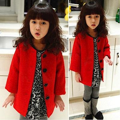 小衣衫童裝    優雅玫瑰扣八角花毛呢鋪棉外套1050110