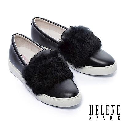 休閒鞋 HELENE SPARK 奢華兔毛全真皮厚底休閒鞋-黑