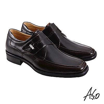 A.S.O職場通勤 勁步雙核心商務魔鬼氈紳士鞋-茶