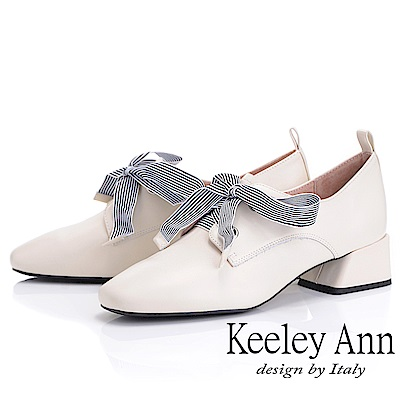 Keeley Ann慵懶盛夏 復古蝴蝶結小方頭包鞋(米白色)
