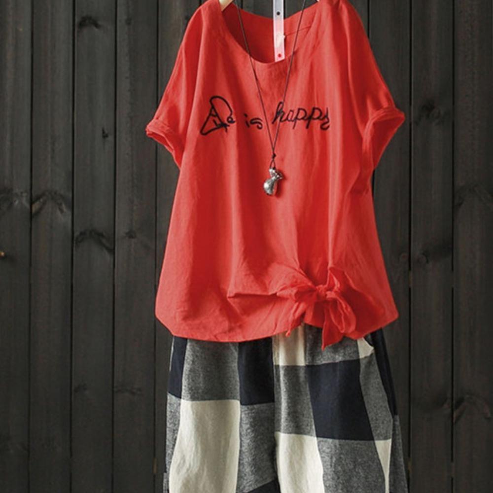 寬鬆蝴蝶結刺繡純棉短袖t恤汗衫上衣-設計所在