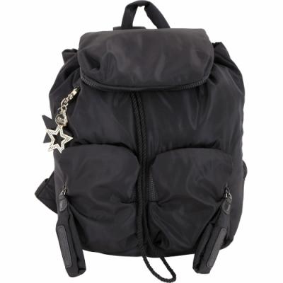 SEE BY CHLOE Joy Rider 大款 星形吊飾雙口袋尼龍後背包(黑色)