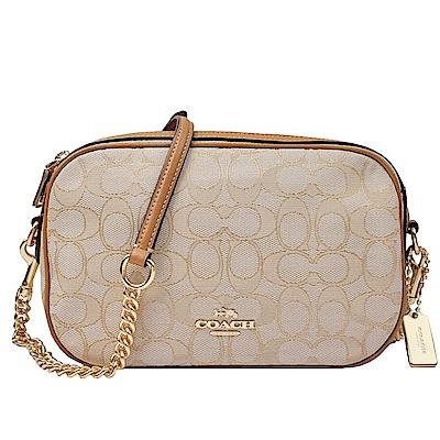 COACH  馬車標誌 C織紋皮革鏈袋斜背包(米卡其)