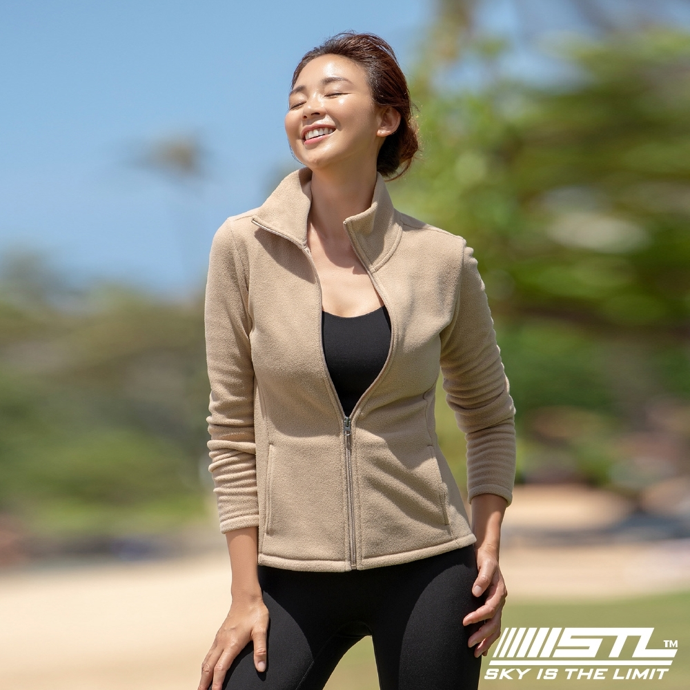 STL yoga FleeceMonoJacket 韓國運動機能 羔羊毛合身 發熱保暖 拉鍊立領外套 奶油貴賓棕PuppyBrown