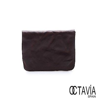 OCTAVIA 8 真皮 - 風化牛皮系列 樹的玩伴二折壓扣短夾 - 深咖