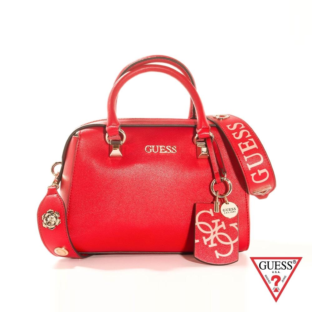 GUESS-女包-素面拉鍊手提方包-紅