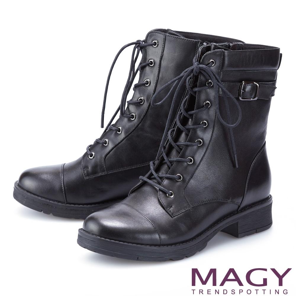 MAGY 中性帥氣真皮拉鍊綁帶 女 短靴 黑色