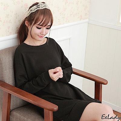 EELADY-圓領側口袋開叉長版長袖T-黑