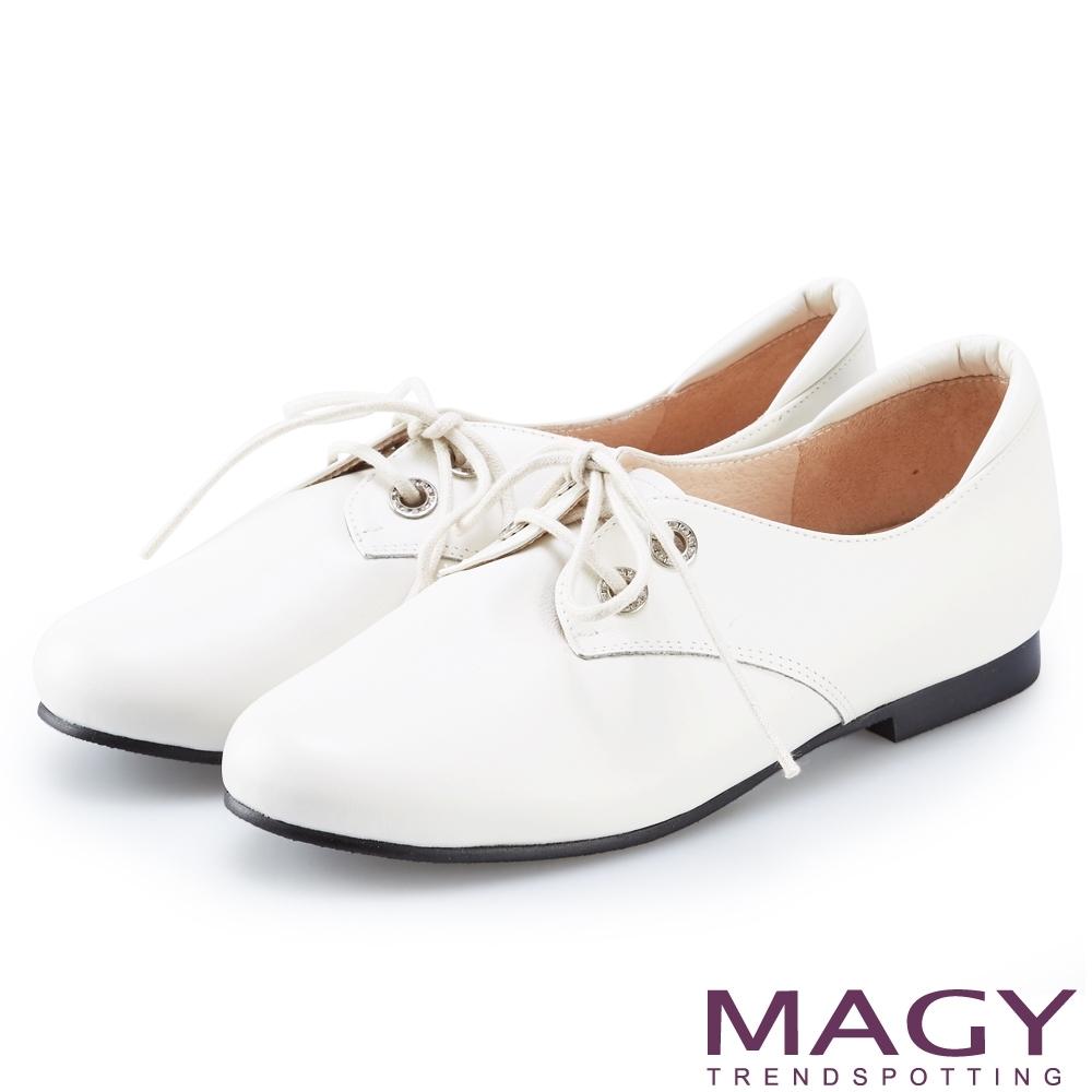 MAGY 質感縫線牛皮綁帶牛津鞋 白色