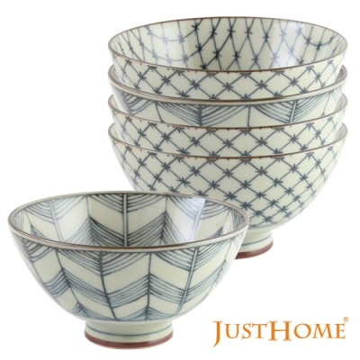 Just Home日本製深丸大平陶瓷飯碗5件組(2種花色)