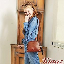 KINAZ x PEANUTS™ 無憂雲朵斜背貝殼包-西柚橘紅-勇敢愛系列