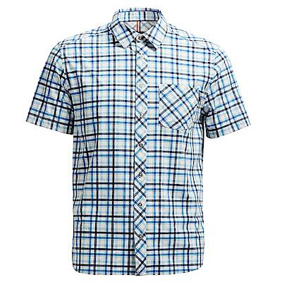 荒野【wildland】男彈性抗UV格子短袖襯衫深藍色