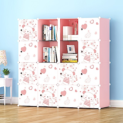 【Mr.Box】加大型16格16門收納櫃/置物櫃/書櫃(粉紅款)