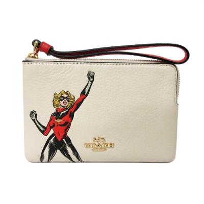 COACH 漫威聯名款女超人手拿包零錢包(米白)