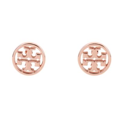 TORY BURCH Logo-Circle 雙T鏤空盾牌蝶釦針式耳環(玫瑰金)