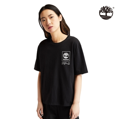 Timberland 女款黑色Utility有機棉寬鬆短袖T恤 A23FA001