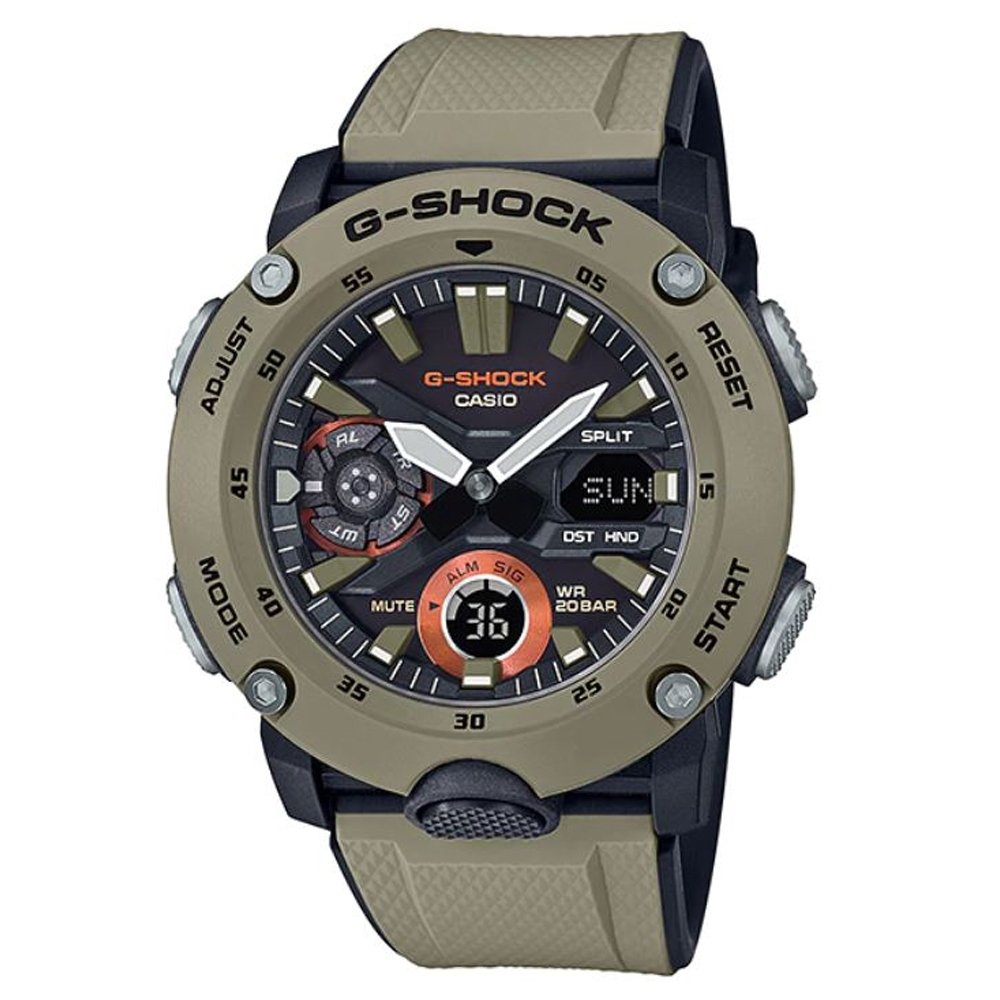 G-SHOCK 引領潮流碳纖維防護設計休閒腕錶-卡其(GA-2000-5A)51.2mm