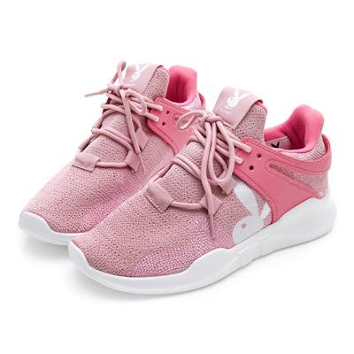 PLAYBOY率性焦點 針織布設計休閒鞋-粉