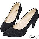Ann'S襯托氣質-特殊緞面皺褶尖頭高跟鞋-黑(版型偏小)