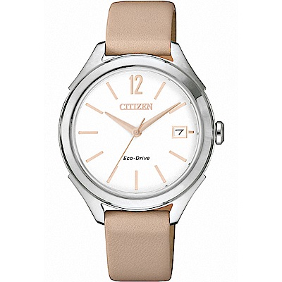 CITIZEN星辰 光動能 自然純美設計女錶(FE6141-19A)-淺卡其/33mm