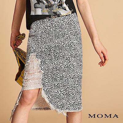 MOMA 刷破斜紋布豹紋裙