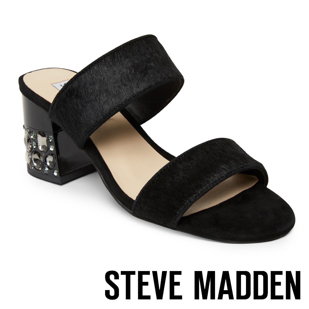STEVE MADDEN ILEENA 絨面寬版二字帶涼鑽跟鞋-絨黑
