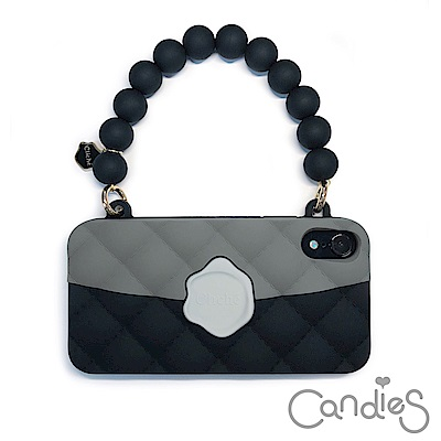 Candies 經典雙色珠鍊晚宴包(黑)-IPhone XR 6.1吋適用