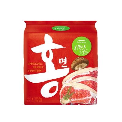 韓味不二【紅】圃美多 Pulmuone 牛肉香菇湯麵(108.8g*4包/袋) 偶然成為社長 同款拉麵