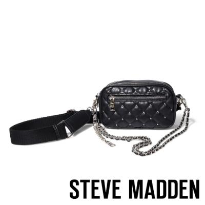 STEVE MADDEN-BMOOD 奢華小香風經典菱格壓紋肩/斜背兩用包-黑色