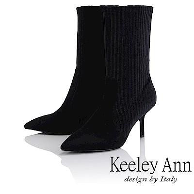 Keeley Ann 俐落時尚~壓紋拼接尖頭中筒靴(黑色-Ann系列)