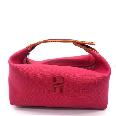 HERMES Trousse H字帆布盥洗收納包(米白色/桃紅色)