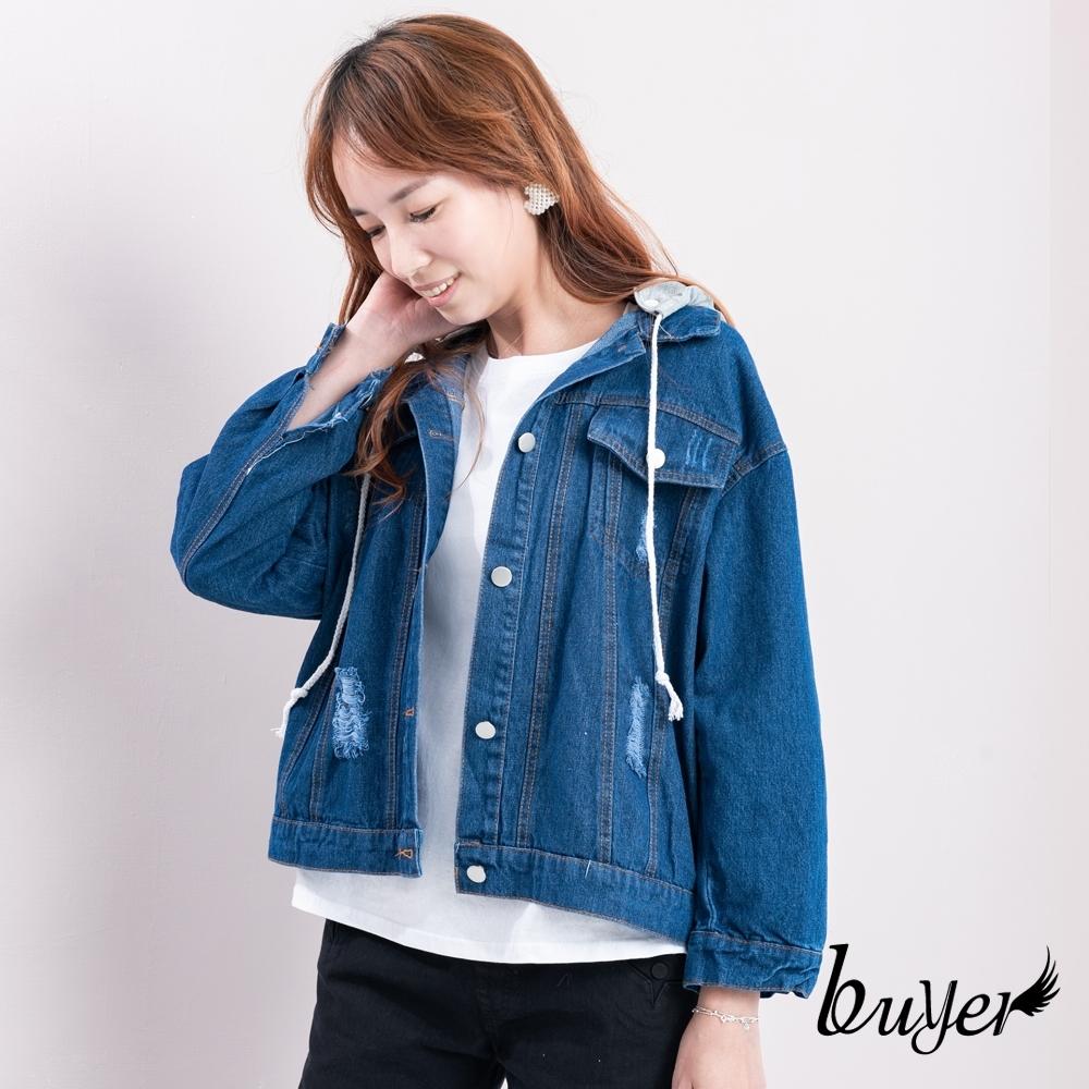 【白鵝buyer】韓版 雙口袋可拆帽牛仔外套_深藍