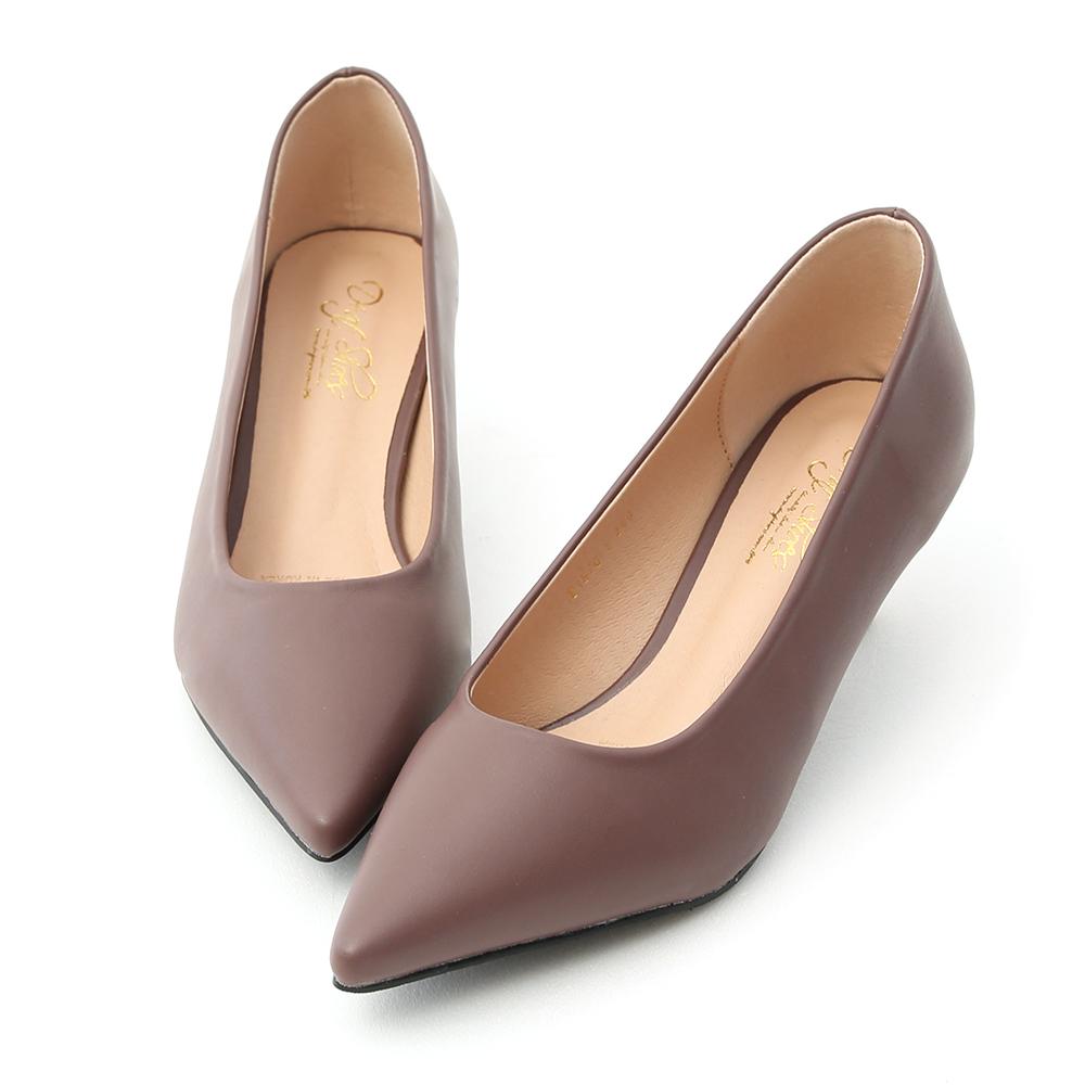 D+AF 莫蘭迪色.簡約尖頭素面中跟鞋*紫
