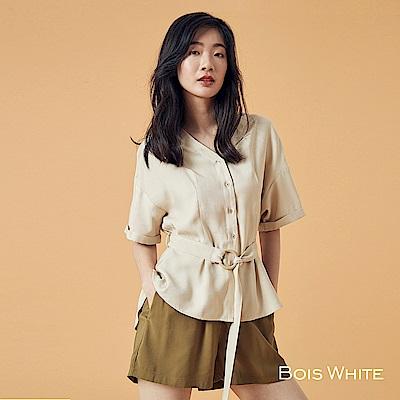 Bois White V領木環腰帶襯衫上衣-杏/白