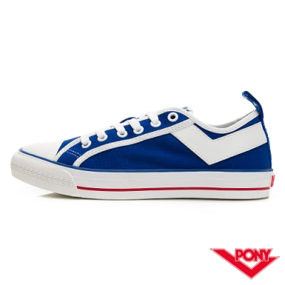 【PONY】Shooter系列低筒帆布鞋-女款-美國配色/藍-03W1SH19BL