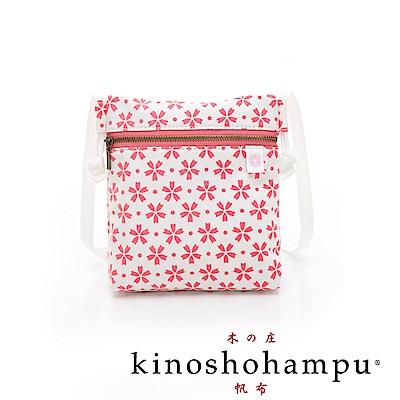 kinoshohampu 貴族和柄帆布斜背護照包 櫻花粉