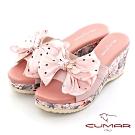 【CUMAR】印花點點蝴蝶結楔型厚底涼拖鞋-淺粉紅