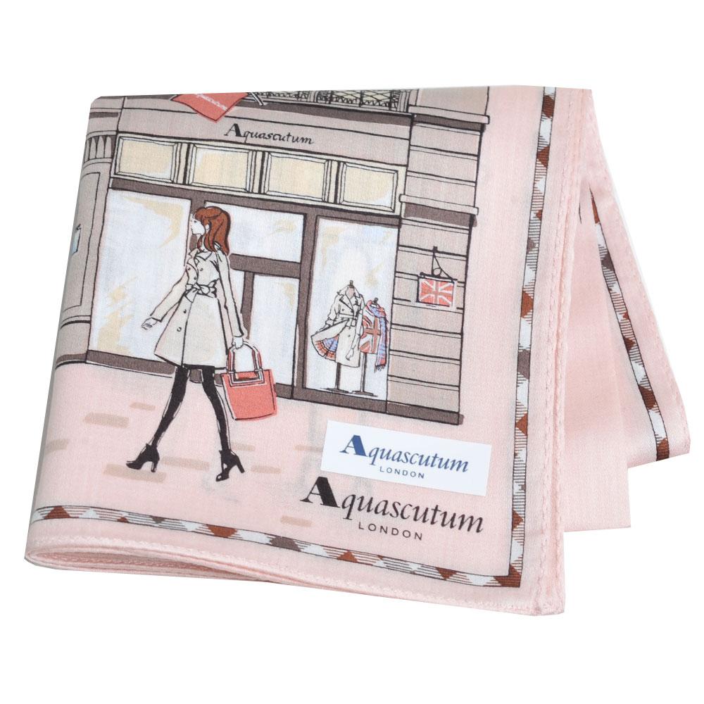 Aquascutum 倫敦風格時尚仕女品牌圖騰字母LOGO帕領巾(粉紅系)