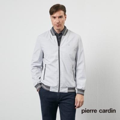 Pierre Cardin皮爾卡登 男裝 都會休閒棒球領印花格紋薄夾克外套-灰(5205666-95)
