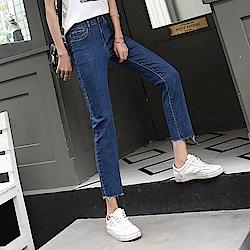 ALLK 直筒9分牛仔褲 深藍色(尺寸27-31腰)