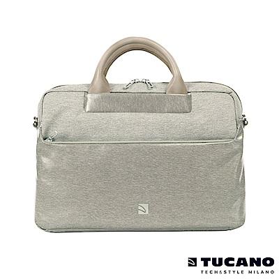 TUCANO Duetto 質感亮面時尚電腦包 13吋-銀灰白