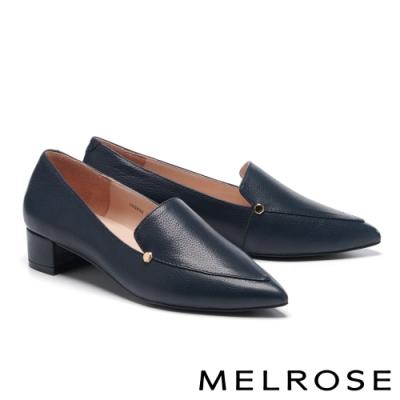 低跟鞋 MELROSE 俐落質感純色縮花牛皮尖頭低跟鞋-藍