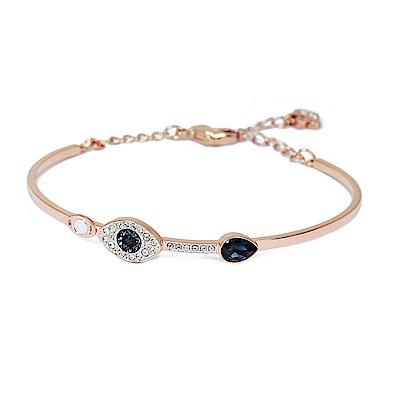 SWAROVSKI 施華洛世奇 藍色水滴璀璨之眼可調節玫瑰金手鍊手環