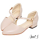 Ann'S瘦瘦的-延伸修長腳背斜帶低跟尖頭鞋-粉(版型偏大)