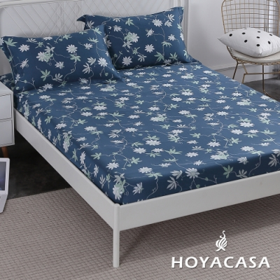 HOYACASA藍語迷情 特大親膚極潤天絲床包枕套三件組
