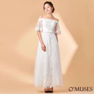 OMUSES 一字領網紗蕾絲刺繡長禮服