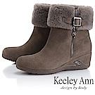 Keeley Ann 暖心冬季~反折絨毛楔型感短靴(卡其色)