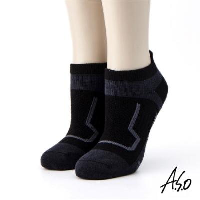 A.S.O長效抑菌系列-運動船型襪-黑色
